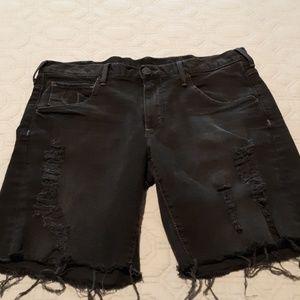 True Religion Black Denim Shorts